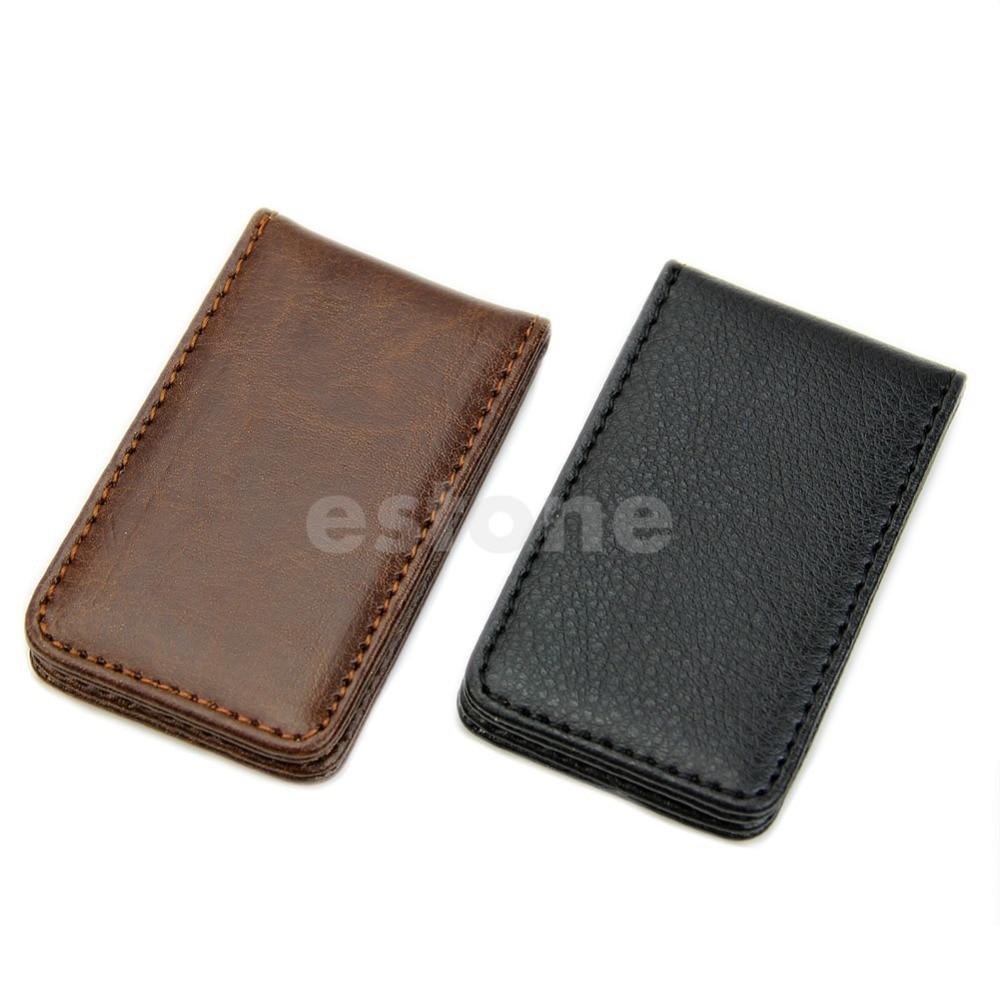 2017 Hot Sale New Fashion Black Brown Leather Magnetic Slim Pocket Money Clip Holder Unisex Women Men Solid Soft Simple