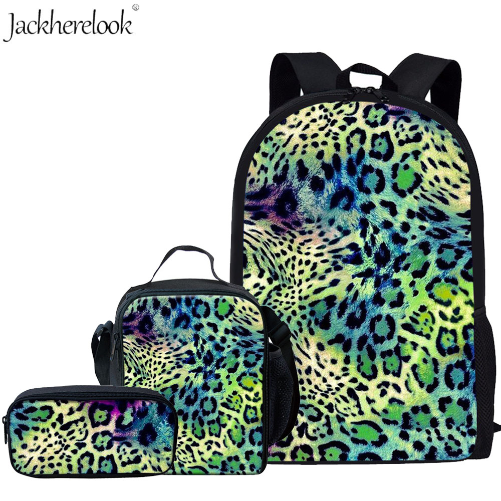 Jackherelook Stylish 3D Leopard Printing School Bags Set 3Pcs Kids Backpack for Girls Students Bookbags Child Schoolbag Mochilas(China)