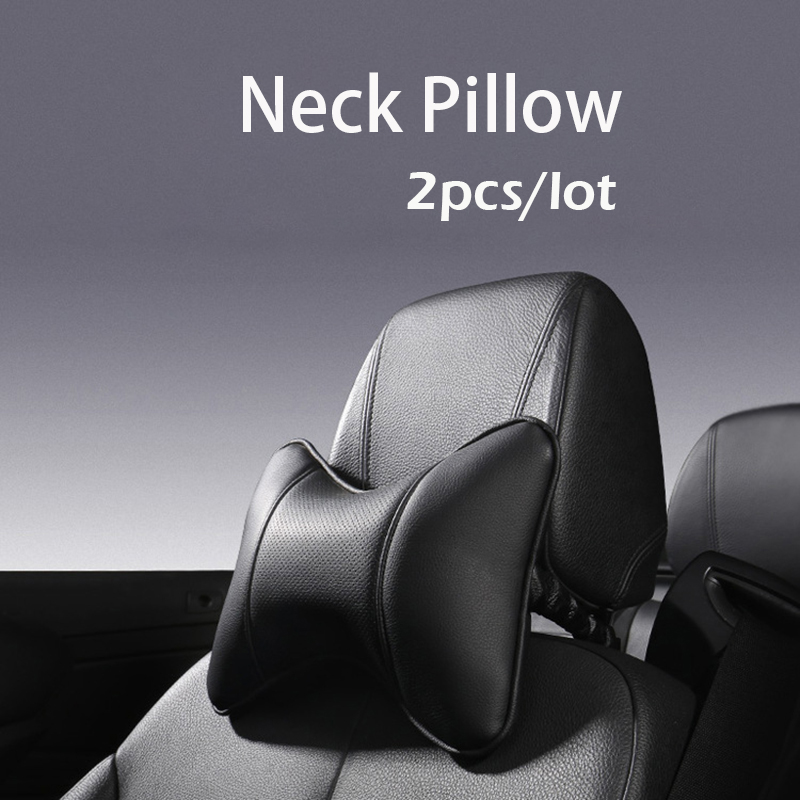 2pc/lot Neck Pillow Car Headrest Memory Foam Pu Leather Fit For Most Cars Filled Fiber Universal Car Pillow