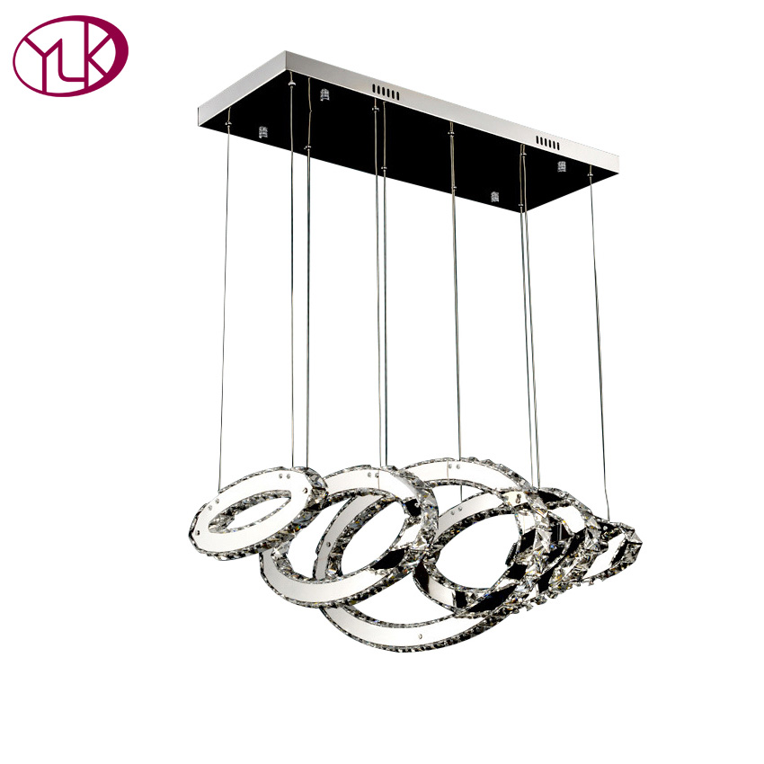 Youlaike Modern LED Chandelier Lighting Rectangle Hanging Clear Crystal Lamp AC110 240V Dining Room Kitchen Light Fixtures