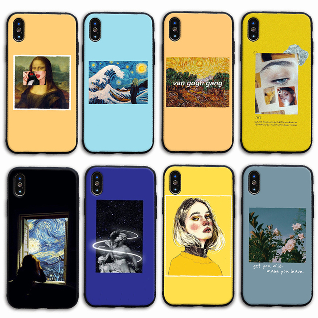 Great art aesthetic van Gogh Mona Lisa painting David soft TPU Phone Case for iPhone 5 5S 6 6S 7 8 Plus X Xs MAX XR cover