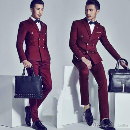 Бургундия Бизнес Мода Мужчины двубортный костюм джентльмен строгий костюм; для жениха на заказ