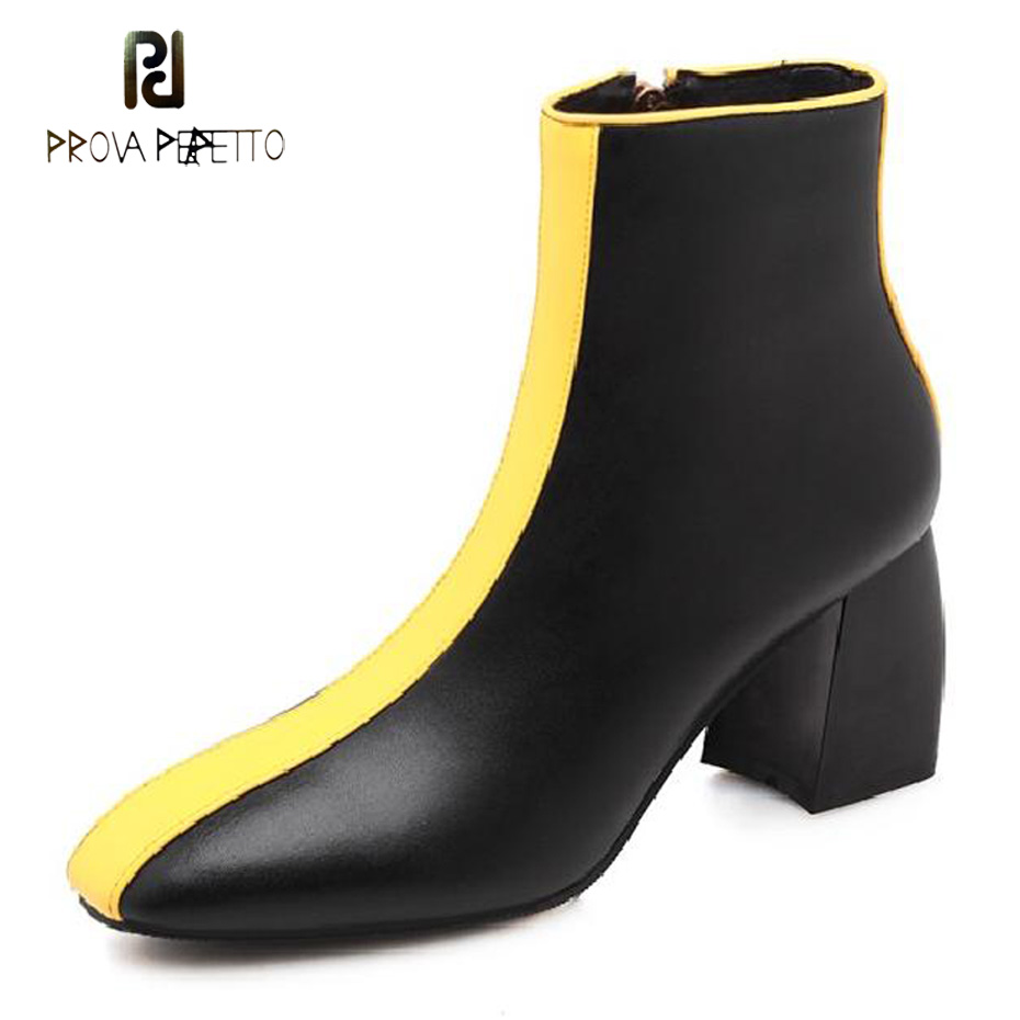 Prova Perfetto british style women ankle boots cow leather mixed color chunky heel fashion women boots square toe side zipper