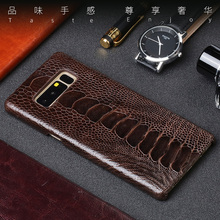 Genuine leather Phone case For Samsung Note 10 Really Ostrich foot skin back cover S10 S8 S9 Plus A5 A9 A8 J5 J7 2017 cases