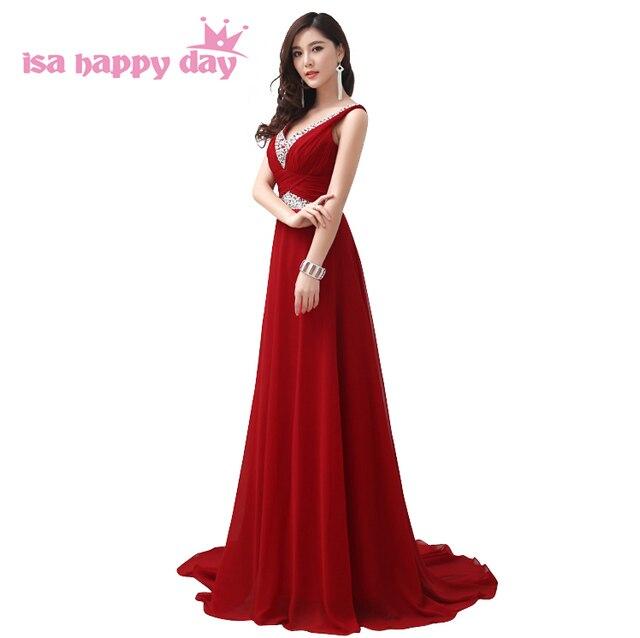 Новые Длинные шифон темно-красное вино Ночное платье макси элегантных женщин Длина пола встроенные выпускного платья сексуальное платье 2018 бисером даже W2062