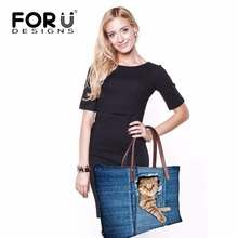 Luxury Brand Cute Cat Dog Women Handbag Casual Shoulder Bags Vintage Demin Blue Top Handle Bags Tote Bolsas Large Travel Bags