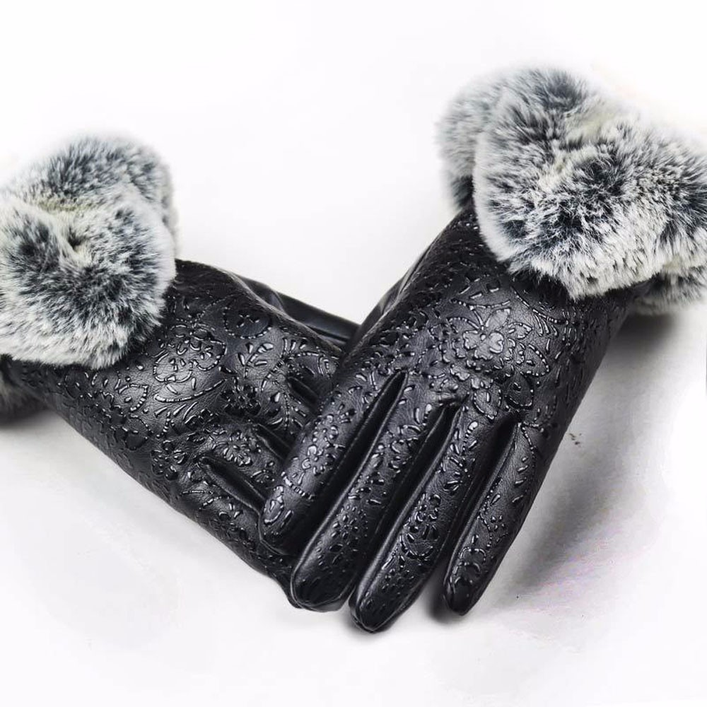 Womail Women Lady Black Leather Gloves Autumn Winter Warm Rabbit Fur Mittens M301224 Back To Search Resultsapparel Accessories