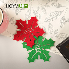6 pcs/bag of leaf cup mat non-woven maple coffee beverage glass anti-heat/anti-skid table cup mat Christmas Home Decorations