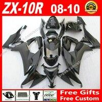 High grade Fairings fit for Kawasaki Ninja ZX 10R 08 09 10 new glossy black ZX10R 2008 2009 2010 ZX10R fairing kits 7 gift OI93