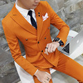 Drop shipping 6 colors mens suit Double breasted buttons 3-piece wedding party dress suits for men casual business suit S-4XL