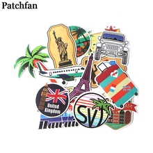 Patchfan 15pcs Travelling Eiffel Tower statue of liberty stickers DIY scrapbooking Laptop Motorcycle Home Decoration badge A2079