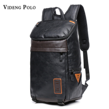 VIDENG POLO Promotion Double Belt Design Mens Leather Backpack Bag Stylish Large Black School Backpacks For Men mochila backpack