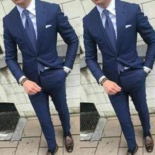 Официальные темно синие деловые мужские свадебные костюмы Одежда