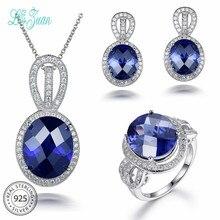 L& zuan овальные сапфировые комплекты украшений для женщин синий драгоценный камень ювелирные изделия 925 пробы серебряные висячие серьги набор обручальное кольцо