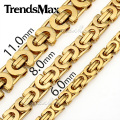 Trendsmax Customized Any Length Gold Plated Byzantine Stainless Steel Necklace Boys Mens Chain Necklace Fashion jewelry KNW47