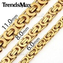 Trendsmax Personalizar Cualquier Longitud Chapados En Oro de Acero Inoxidable Bizantina KNW47 Chicos Collar Para Hombre Collar de Cadena de joyería de Moda