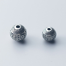 925 Sterling Silver Geometry Printing Round Spacer Beads 10mm 12mm Handmade Retro Craft Silver Beads DIY Jewelry Accessories