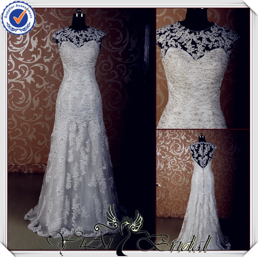 JJ3613 sequence beads laces guipure lace wedding dress heavy beadingin Wedding Dresses from