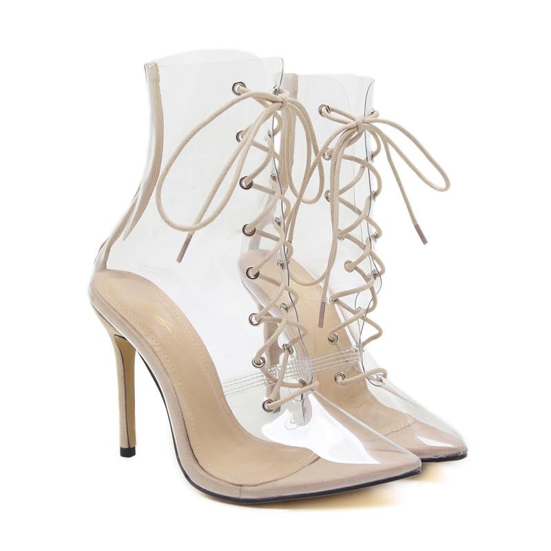 De Alto Mujeres Para Tacones Botas Zapatos Cm Pie Moda Cruz Tobillo Puntiagudo Damas Encaje Pvc Dedo Las Del Sexy Tacón Transparente 12 5xYngn