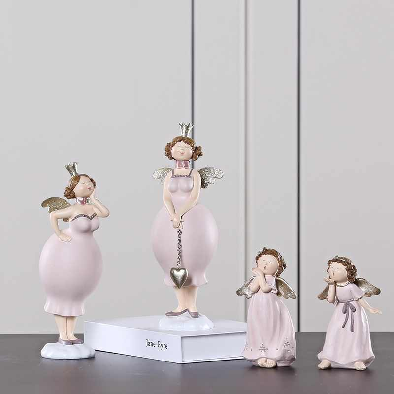 Europe Beauty Cute Girl Figurines Angel Fat Lady Girls Resin Crafts Decoration Handicraft Ornament Wedding Gift R772