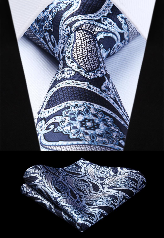 Woven Men Tie Navy Blue White Black  Paisley Necktie Handkerchief Set# TP943Y8S  Party Wedding Classic Pocket Square Tie