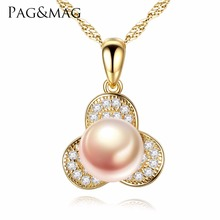 PAG&MAG Brand Natural Pearl Petal Pendant With 925 Sterling Silver Charm Necklace For Women Fine Jewelry Party Gift FN0052