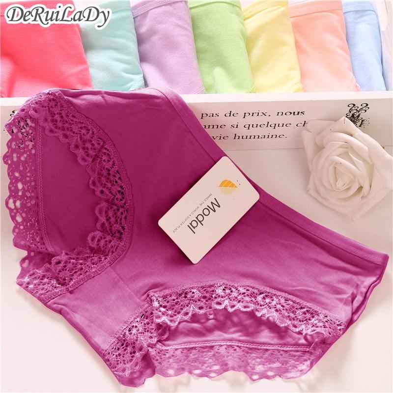 Buy DeRuiLady Panties Sexy Women Brand Victoria Underwear 10 Colors Lace Charcoal Modal Women Panties Briefs Vs Low-waist Underwear