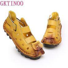 Gktinoo 2020 verão fundo macio plana sapatos femininos de couro genuíno personalidade lazer sandálias retro sandálias artesanais sapato