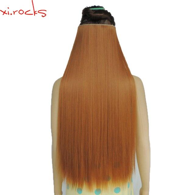 Wjz12070/27S 1p Xi.rocks شعر مستعار الاصطناعية كليب في الشعر التمديد طول مستقيم شعر مستعار مقاطع الشعر ماتي الألياف الزنجبيل الباروكات