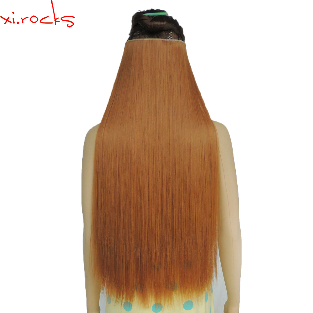 wjz12070/27S 5p Xi.rocks wig Synthetic Clip in Hair Extension Length Straight Hairpiece Hair Clips Matte Fiber Ginger wigs-in Synthetic Clip-in One Piece from Hair Extensions & Wigs