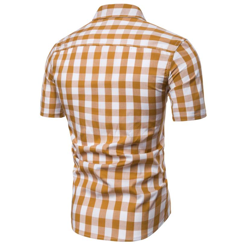 Wedding Dress Men Shirt Short sleeves Plaid Shirt for Men Business Casual Grid Blouse Male Summer New in Casual Shirts from Men 39 s Clothing