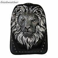 Moda 3D lion head stampa zaini grande capacità di cuoio degli uomini degli uomini del computer portatile zaini per i viaggi nero anime schoolbag 3 colori