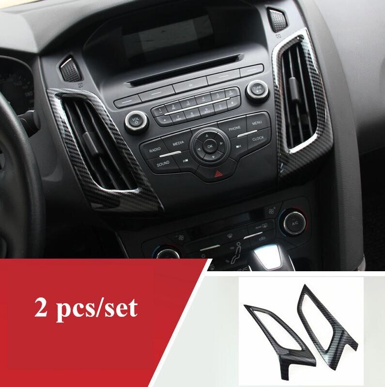 Carbon fiber Gear panel cup holder door handle steering wheel air vent Decorative case For Ford Focus 3 mk3 2015-2017
