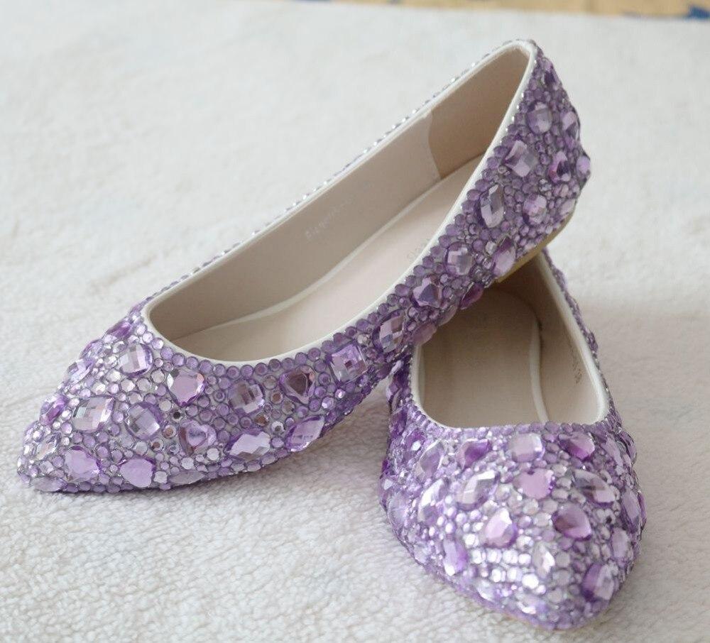 9aa765551e90 Newest fashion flats shoes purple diamond flats woman shoes Ballet flats  woman shoes -in Women s Flats from Shoes on Aliexpress.com