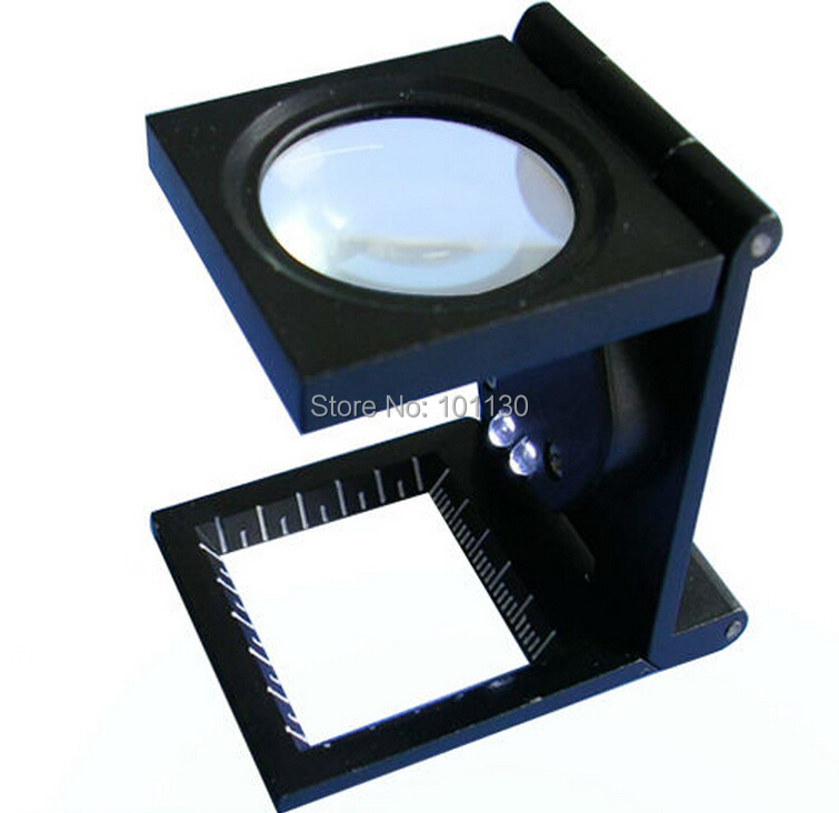 Wholesale 8x Illumination Foldable Scale Magnifier Linen Tester Fabric Magnifying Glass with 2 LED Lights недорго, оригинальная цена