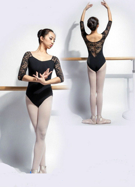 34dd9aa3bc Leotards Ballet Para As Mulheres Puro Algodão Preto Dancewear Ballet Adulto  Roupas de Prática de Dança