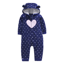 Hooded Baby Rompers Overalls for Children Stripe Baby Girl Boys Clothes for Newborns Cotton Jumpsuit Warm Thick цены