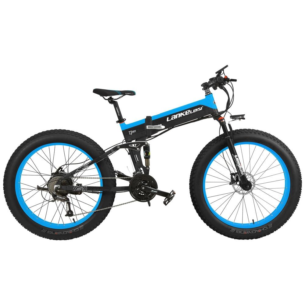 26 ''EBike 1000 W tout-terrain pliant électrique VTT Double Suspension cyclisme 4.0 gros pneu Double frein à disque mécanique