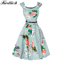 Kostlish A Line Women Summer Dress Audrey Hepburn 50s 60s Floral Print Vintage Dress Women 2017