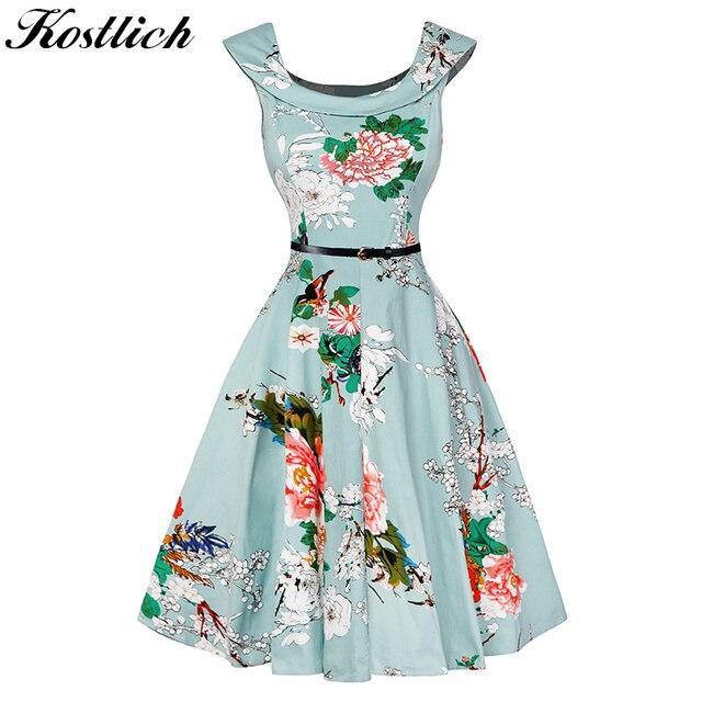 210ca9d78bea Special price Floral Print Women Summer Dress Hepburn 50s 60s Vintage Dress  Women A-Line Party Dresses With Belt Female
