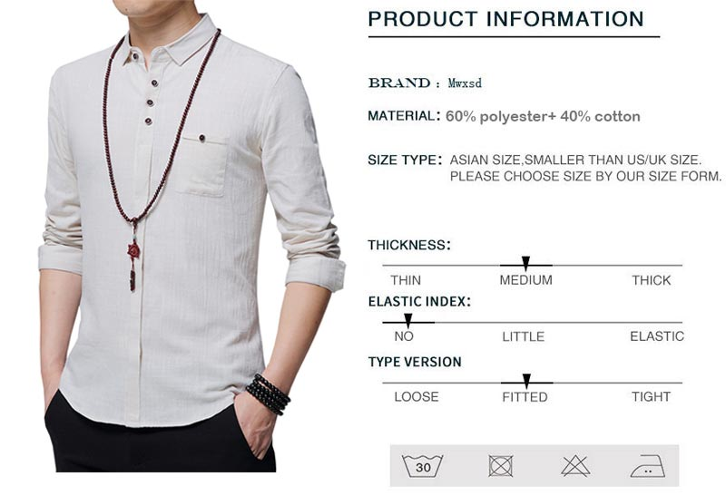 2d76b7f86d0 Mwxsd brand men s casual linen cotton Shirt slim fit soft Long Sleeve  breathable shirts for male chemise homme Camisa Masculina-in Casual Shirts  from Men s ...
