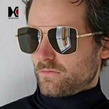 SHAUNA Oversize Metal Frame Double Bridges Women Square Sunglasses Retro Men Gradient Shades