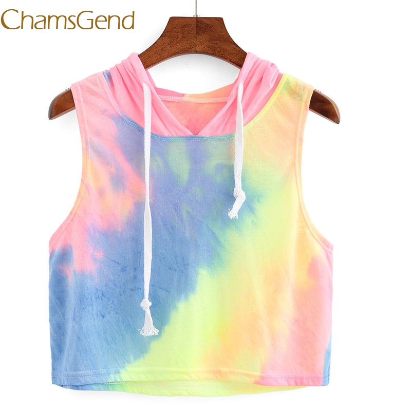 Chamsgend Sexy Print Hooded Crop Summer tank top women Plain Round Neck Sleeveless Tie F ...
