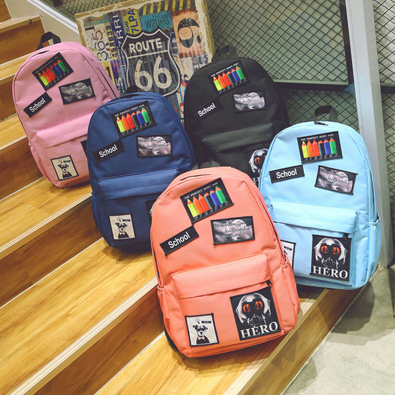 New Oxford Cloth Backpack Women Girls Traveling School Students Sathel Backpacks Korean Badges Decor Bag LT88