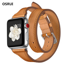 цена на Genuine Leather strap For Apple watch Series 4 band 44mm/40mm iWatch 3 2 1 42mm 38mm Double Tour Wrist Bracelet belt