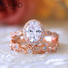 ROMAD Hollow Flower Shape Crystal Engagement Ring for Women Rose Gold Color AAA Zircon Wedding Rings Gift Fashion Jewelry R4 romad rose gold color double ring fashion ring set austrian crystal rings for women zircon ring wedding band jewelry z4