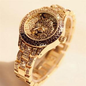 Image 2 - Women Watch Ladies Diamond Stone Dress Steel Leopard print Rhinestone Bracelet Wristwatch Tiger Crystal Watch relogio feminino