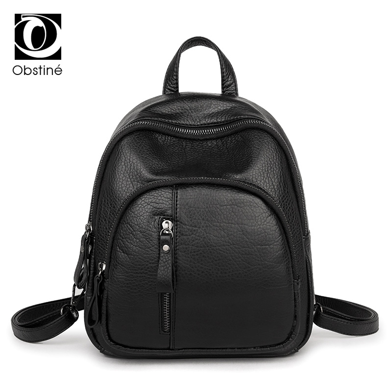 2017 New Fashion Black Women Backpack PU Leather Waterproof Small Backpacks Vintage Girls School Bags Ladies Travel Shoulder Bag