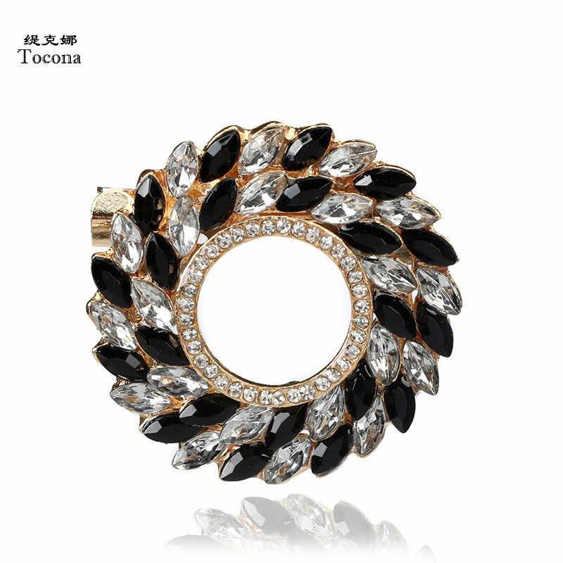 Tocona Hitam Putih Kristal Berlian Imitasi Bros Pin untuk Wanita Punk Emas Perak Bros untuk Syal Suit Perhiasan Aksesoris 3678