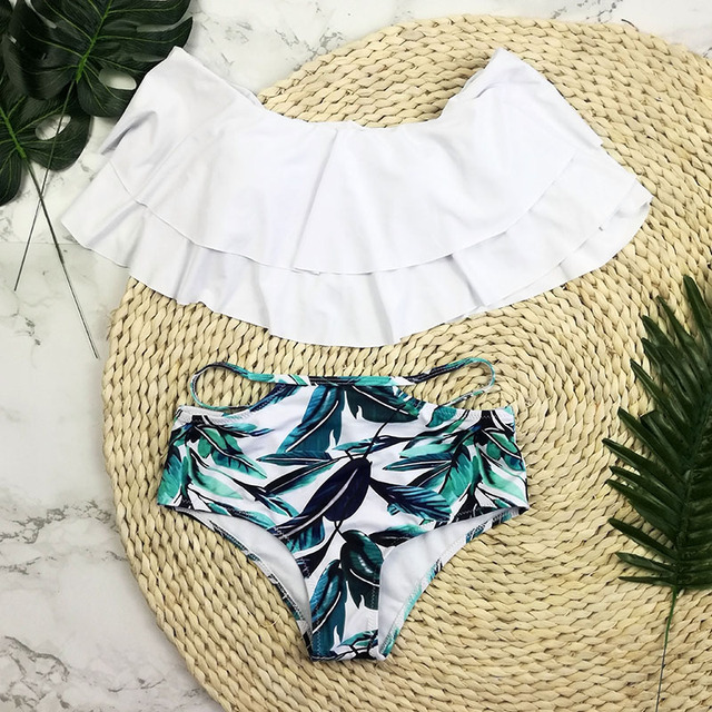 Bikini Push Up New Wavy Lace Swimwear plus size Swim Suit Sexy Brazilian Women Off Shoulder Swimsuit High Waist Bathing Suits